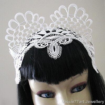 Ariel - White Lace Cat Ear Fascinator Horse racing Crown Burlesque Headpiece