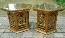End table (2) Italian regency gold LEAF glass top peacock design Mid Century