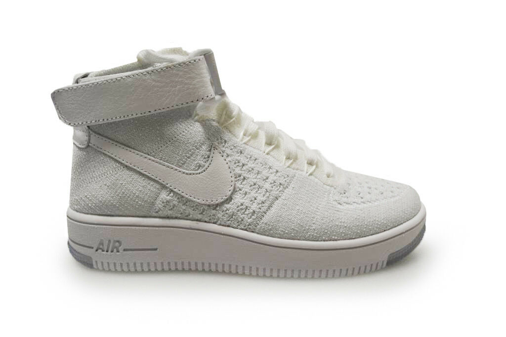 Womens Nike Air Force 1 1 1 FlyKnit - 818018 100 - White-Pure Platinum Trainers 5a7c8e