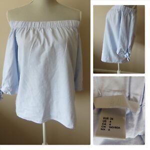 82c638e9441 H&M Bardot Blouse Top Off The Shoulder Blue 3/4 Sleeves Cotton Size ...
