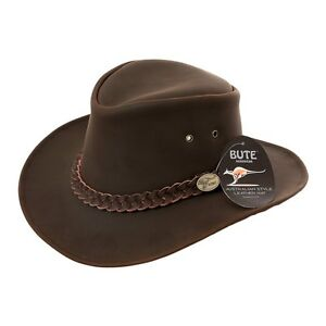 Image is loading AUSTRALIAN-BROWN-LEATHER-BUSH-HAT-HAWKINS-5-sizes- 15b0e94f7b6