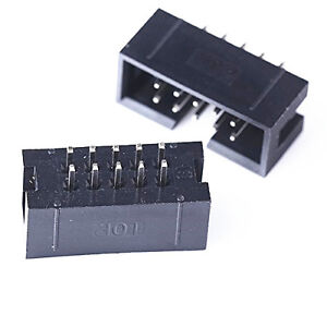 20pcs 2.54mm 2x5 Pin 10 Pin Straight Male Shrouded header IDC Socket