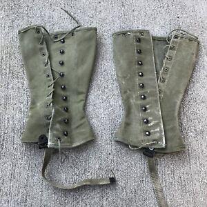 WW2-US-Vintage-Military-Army-Leggings-Gaiters-Spats-Canvas-Original