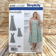 Simplicity 8096 Womens Plus Size Midi Maxi Dress Princess Seam S 18W 24W Pattern