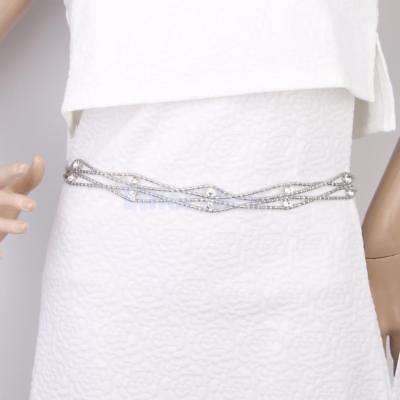 Taillengürtel Kettengürtel Kleidkette Taille Gürtel Raute Strass Silber
