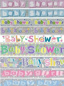 BABY SHOWER PARTY BANNERS GIRL BOY PINK BLUE /& MULTI PARTY DECORATIONS