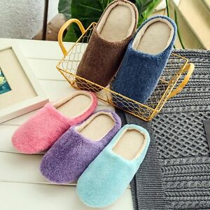 Men House Indoor Slippers Women Home Warm Cotton Velvet Shoes Sandals Anti-Slip