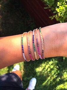 Tennis-Silver-Cubic-Zirconia-Bracelet-Multicolor-Gemstone-14K-Rose-Gold-Plated