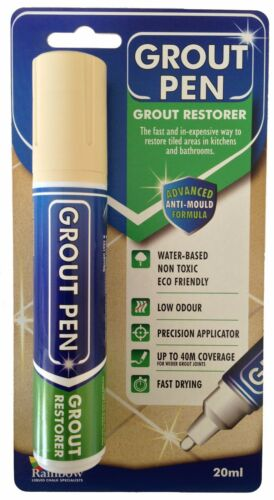 LARGE GROUT PEN REVIVES /& PROTECTS STAINED TILE GROUT AVAILABLE IN 9 COLOURS.