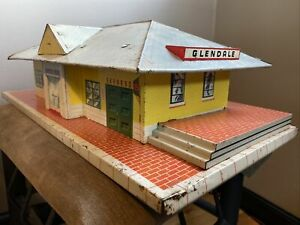 Vintage Marx Large Tin Toy Glendale Train Station Depot Lithograph Building RR
