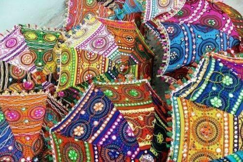 Wholesale Weeding Decorative Indian Embroidered Parasol Sun Shade Umbrella Decor