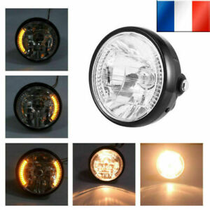 7-034-H4-Phare-rond-de-moto-Clignotant-12-LED-Lampe-frontale-Ambre-Lumiere-Support