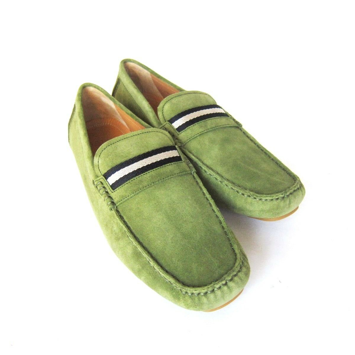 S-1468935 New Bally Wabler Moss Green Suede Driver shoes Sz US 11.5D marked 10.5E