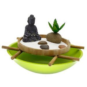 Details Sur Jardin Zen 30x21cm Avec Statuette Bouddha Vasque Decoration D Interieur