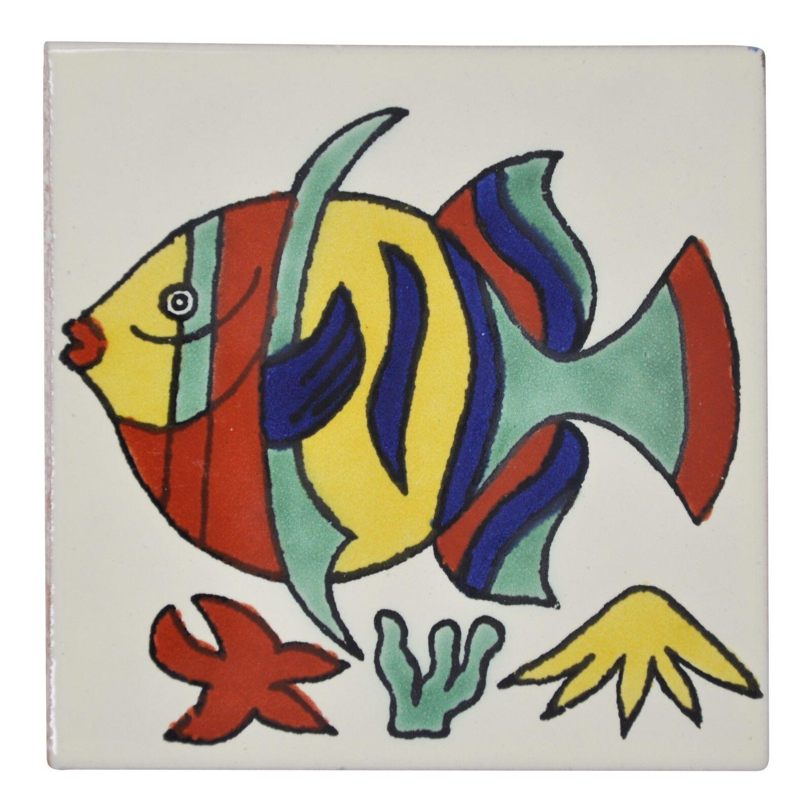 Fairly Traded Handmade Ceramic Mexican Talavera Tile 10.5cm - Edmundo