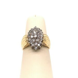 14K-Yellow-Gold-amp-96ctw-Diamond-Marquise-Shaped-Cluster-Size-7-5-Ring-32
