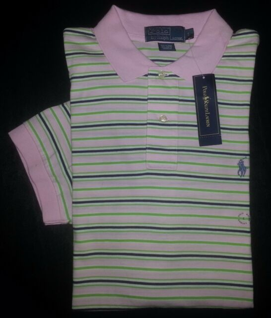 adaf77e4f Ralph Lauren Polo Shirt Golf Polo L Pink Navy Green White Blue Logo NWT  s2829