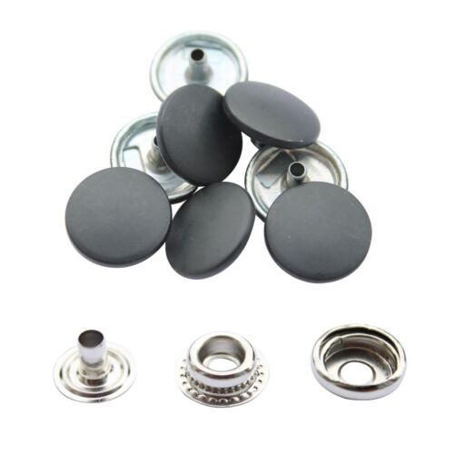 10//50//100 Sets of Large Press Studs 4 Part Silver with 15mm Colour Caps Fastener
