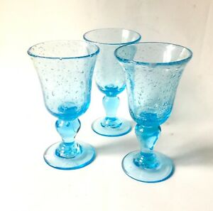 superbe 3 verres a pied biot vin couleur bleu turquoise ebay. Black Bedroom Furniture Sets. Home Design Ideas