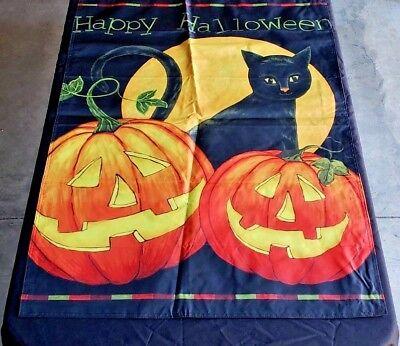 "*SAMPLE SALE* HALLOWEEN LARGE HOUSE FLAG JACK O/'LANTERN BLACK CAT 28/"" X 40/"""