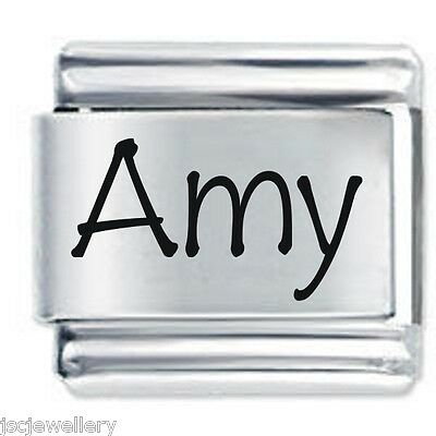 AMY Name  - Daisy Charms Fits Nomination Classic Size Italian Charm Bracelet