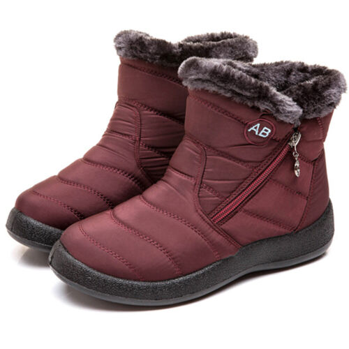 Womens Fur Lined Snow Ankle Boots Ladies Winter Warm Waterproof Flat Shoes Size