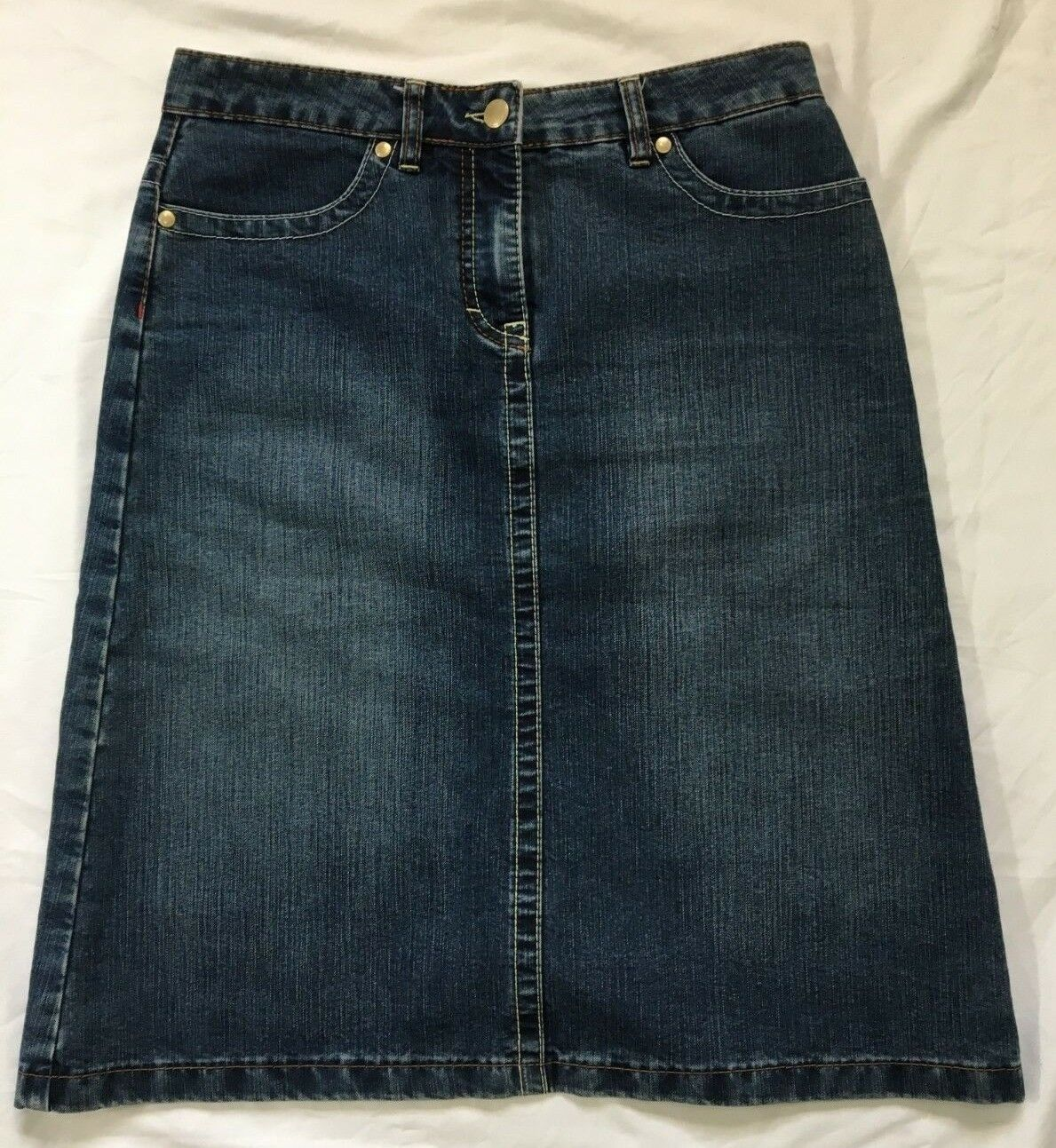 Pre-owned  275 ESCADA ITALY A-line Jean Mini Skirt Mid Wash, Size 4 (34)