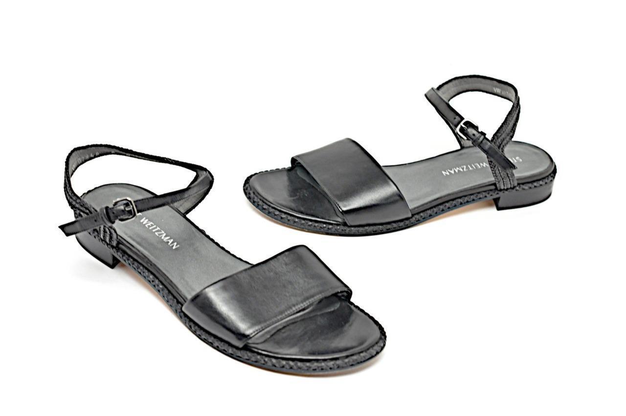 STUART WEITZMAN Black Leather Sandals with Raffia + Braided Leather Trim  Sz 9M
