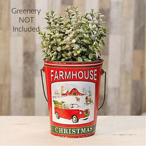 Red Truck Decor Farmhouse Christmas Red Truck Farmhouse Decor Metal Bucket Metal Pail Country, Christmas Farmhouse
