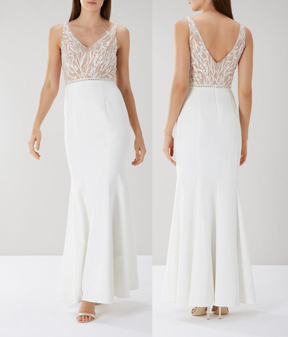 COAST Kim Embroiderot Lace Maxi Dress in Ivory   NEW