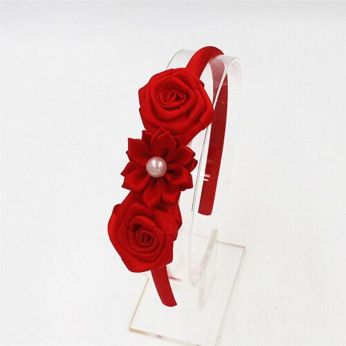 Fleur Rose Perle Daisy Satin Alice Bandeau Serre-tête Fille Perle Motif cheveux