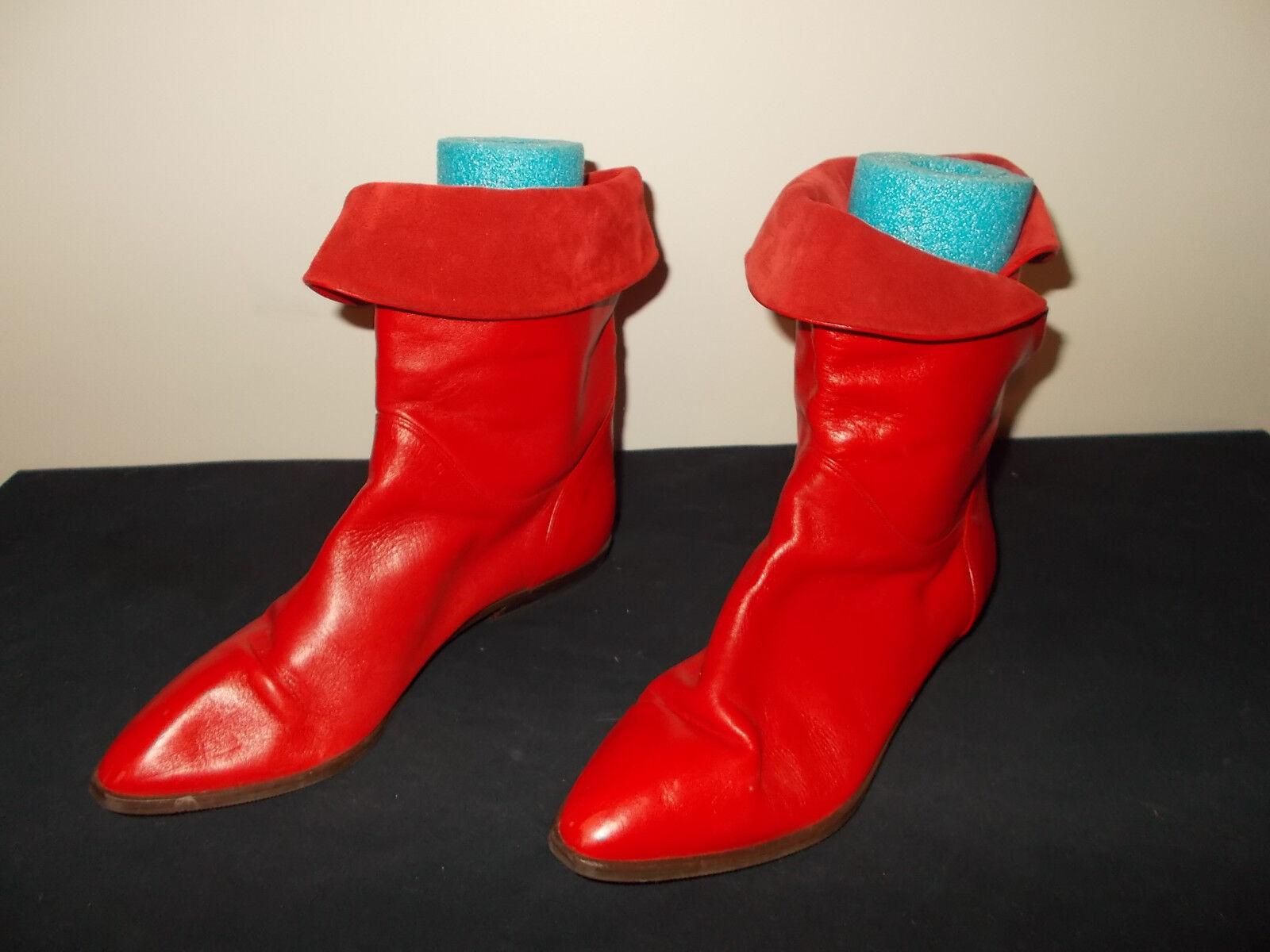 76e5f2c574 Vintage-1980s Bandolino Rojo hecho Italia Cuero Rojo Bandolino Punk Rocker botas  para mujer 8.5 ...