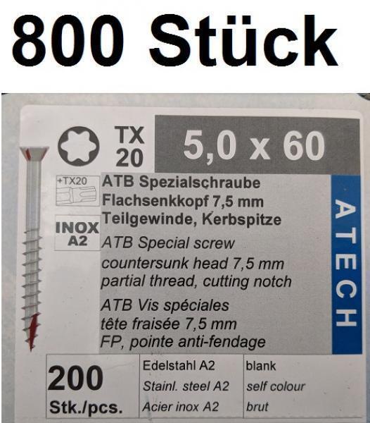 Terrassenschrauben 5,0x60 mm Edelstahl A2 (800 St.) + Bit