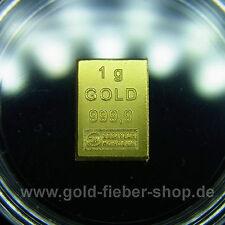 1 Gramm Goldbarren 999,9 Feingold Valcambi ESG 1 g Gold LBMA zertifiziert Anlage