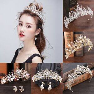 Bridal-Wedding-Crystal-Tiara-Crown-Pearl-Rhinestone-Headband-Women-Prom-Elegant