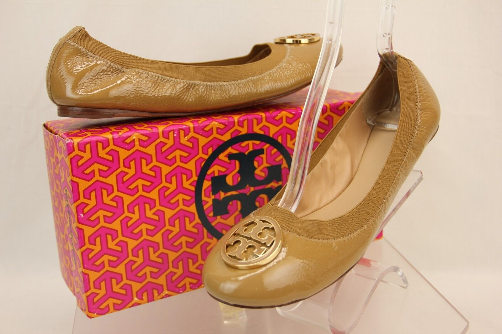 Nuevo Nuevo Nuevo En Caja Tory Burch Caroline Oscuro Arena Charol oro Reva Ballet Zapatos sin Taco Sin 9.5  El nuevo outlet de marcas online.