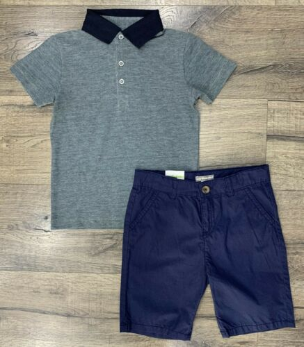 BOYS CONTRAST POLO TOPS /& SHORT SETS OUTFIT 3-10 YEARS