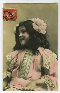 c 1910 Vintage Child Children CUTE DARK HAIRED GIRL tinted photo postcard