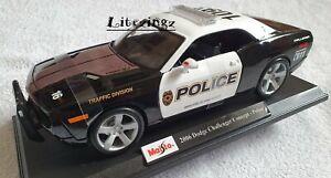 Maisto-1-18-Diecast-Modelo-Coche-Dodge-Challenger-Concept-Policia-Negro-Y-Blanco