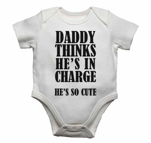 Baby Vests Bodysuit Cotton Present Daddy Thinks He Is In Charge He Is So Cute