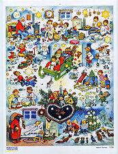 Corazón calendario de Adviento formato grande Fritz Baumgarten silberglimmer reprint