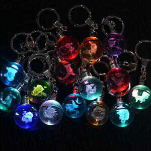 3D Pokemon Crystal Pokeball Charizard LED RGB Night Light Key Ring Keychain Gift