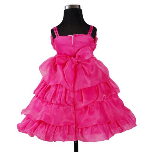 Nouveau flower girl partie demoiselle d/'honneur robe de mariée pagent hot pink ivory 2-7 ans