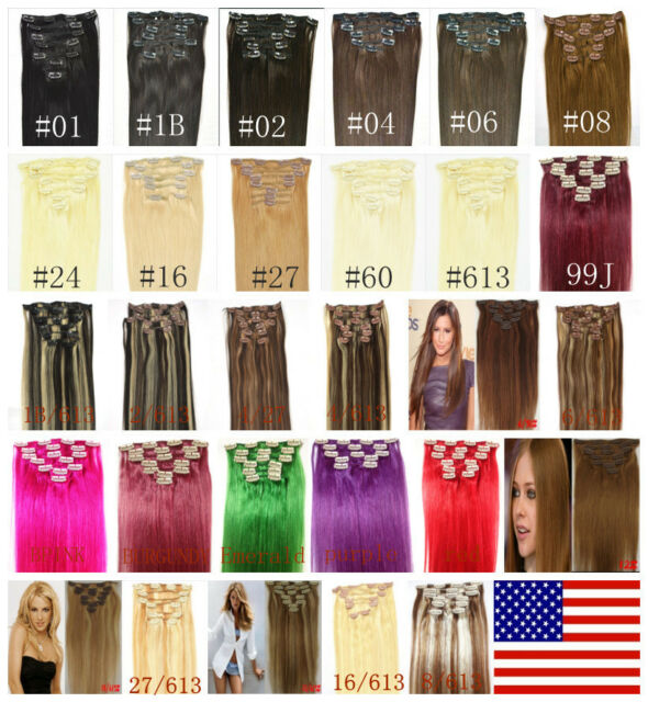"""16""""18""""20""""22""""24""""26""""30"""" 7Pcs FULL HEAD Clip In 100% Real Remy Human Hair Extension"""