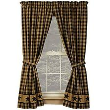 Country house new Homespun COUNTRY STAR black/tan lined curtains w / tiebacks