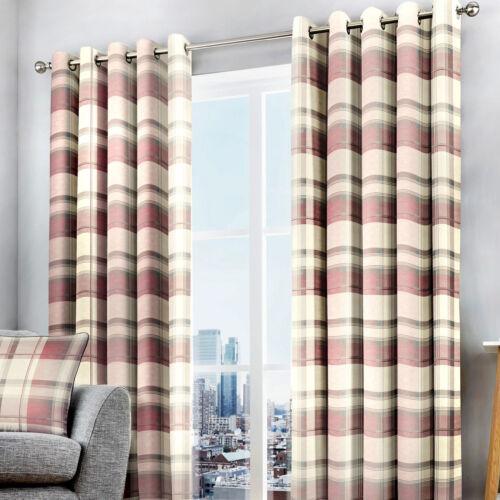 Choice of Sizes Balmoral Check Eyelet Curtains Blush