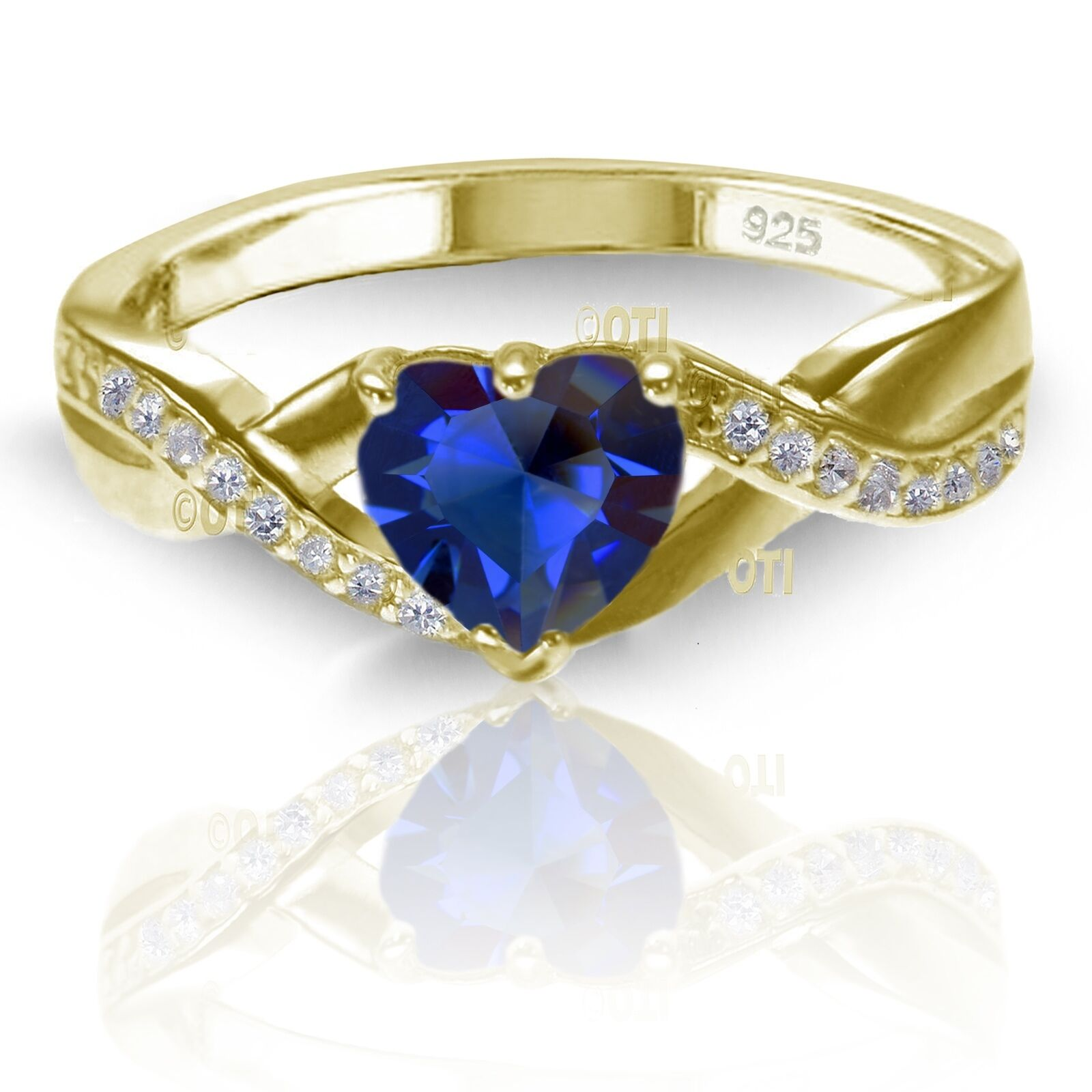 18k Yellow gold Plated Simulated Heart Cut bluee Sapphire Diamond Infinity Ring