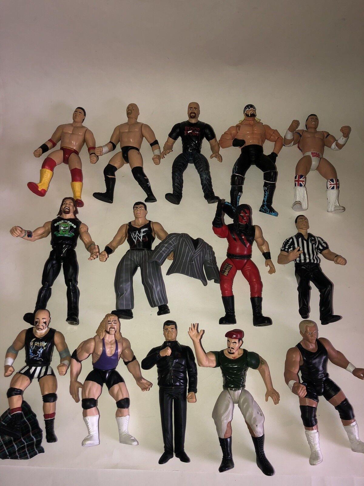 WWE WCW WWF Wrestling Figures Lot of 15 96'-99' Hulk Hogan Vince McMahon Kane+