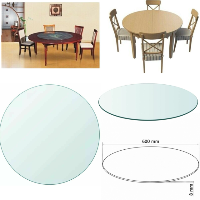 800mm Round Tempered Glass Table Top Replacement Dining Coffee Table Protector