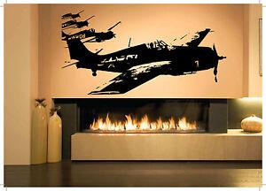Wall room decor art vinyl sticker mural decal air plane for Air conditionn mural